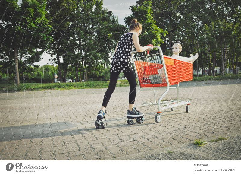 Child Girl Street Head Feet Shopping Parking lot Shopping Trolley Mannequin Push Roller skates