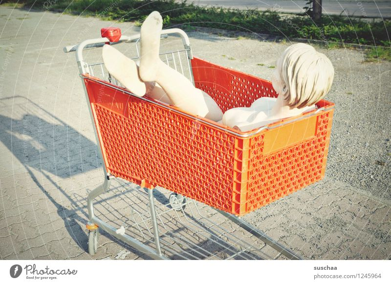 purchased Shopping Trolley Parking lot Mannequin Feet Legs Head Transport