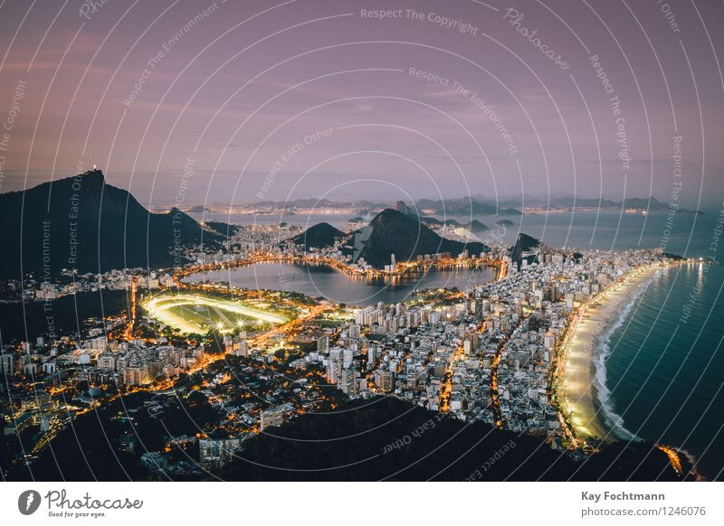 View of Rio de Janeiro at night Vacation & Travel Tourism Adventure Far-off places Freedom Sightseeing City trip Summer Summer vacation Beach Ocean Nature