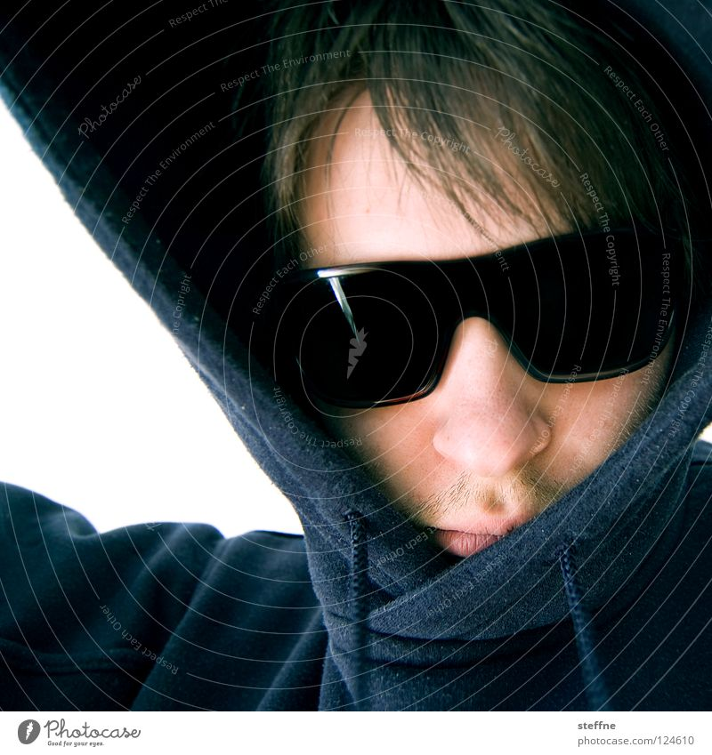 CAPUCHIN Portrait photograph Sunglasses Hooded (clothing) Hooded sweater Dangerous Merciless Criminal Cappuccino Man steffne self Cool (slang) self-protraction