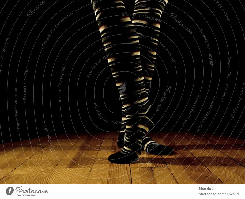 La danse des chaussettes trippeln Stockings Striped socks Sock Ballet Parquet floor Stage Dark Floodlight Dance Low-key Art Culture Playing Legs Feet
