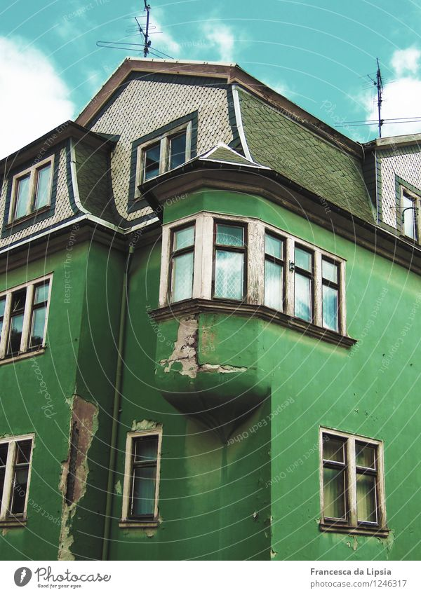 Old Blue Green Colour White House (Residential Structure) Window Black Architecture Senior citizen Building Gray Germany Facade Living or residing Europe