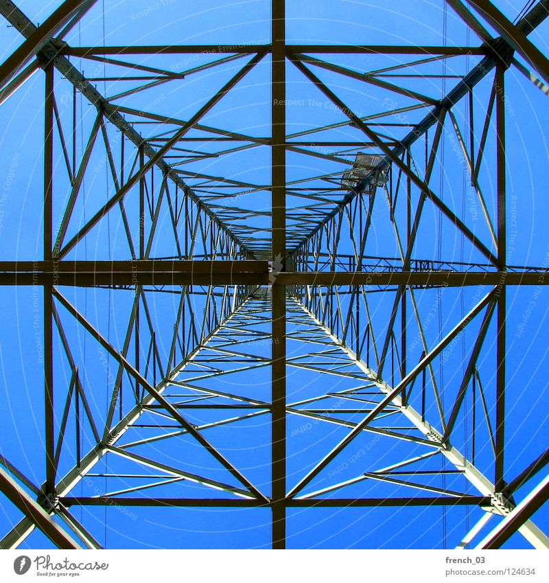 below the current Sky Blue Gray Tall Energy industry Electricity Dangerous Technology River Cable Under Brave Steel Conduct Ladder Beautiful weather