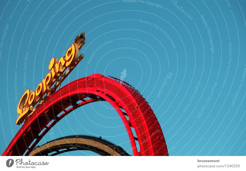 Loop The Loop Joy Leisure and hobbies Roller coaster Fairs & Carnivals Railroad tracks Metal Driving To fall Blue Yellow Red Fear of heights Dangerous Brave