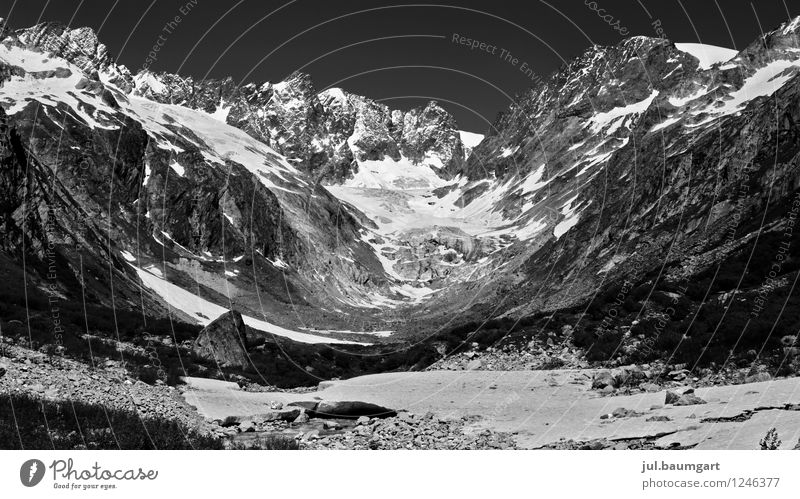 Göschenen Glacier bw Mountain Hiking Nature Landscape Beautiful weather Snow Alps jacks Dark Large Switzerland Black & white photo Exterior shot