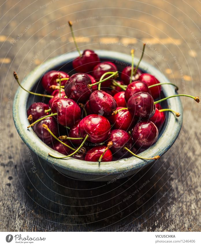 Cherries in a blue bowl Food Fruit Dessert Nutrition Organic produce Vegetarian diet Diet Bowl Lifestyle Style Design Healthy Eating Summer Garden Table Nature