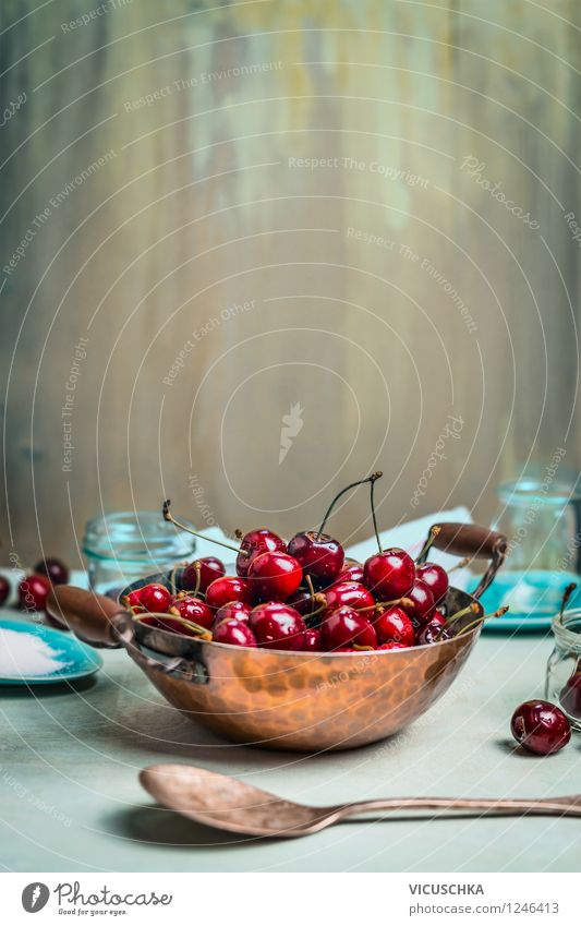 Old copper pot with cherries on the kitchen table Food Fruit Jam Nutrition Breakfast Organic produce Vegetarian diet Diet Crockery Plate Bowl Pot Bottle Glass