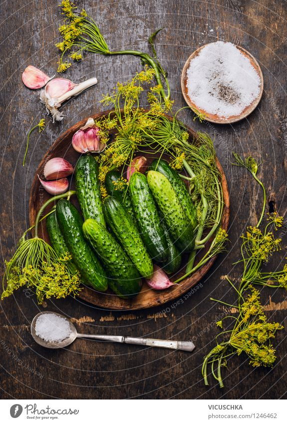 Cucumbers, herbs and spices for pickling Food Vegetable Herbs and spices Nutrition Plate Bowl Spoon Style Healthy Eating Life Summer Living or residing Table