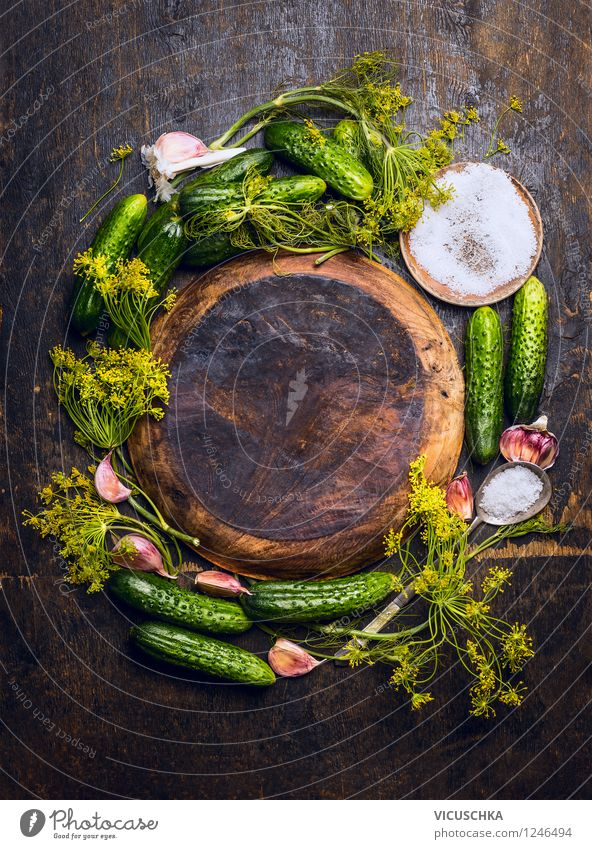 Ingredients for cucumber pickling Food Vegetable Herbs and spices Nutrition Organic produce Vegetarian diet Diet Plate Bowl Spoon Style Design Healthy Eating