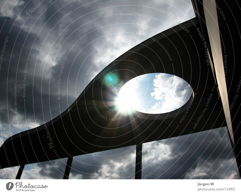 Sky Sun Clouds Gray Architecture Roof Radiation Duesseldorf Dramatic Business centre