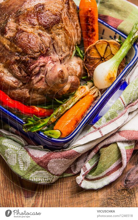 Leg of lamb with roasted vegetables Food Meat Vegetable Herbs and spices Nutrition Lunch Dinner Banquet Organic produce Pot Style Design Healthy Eating Life