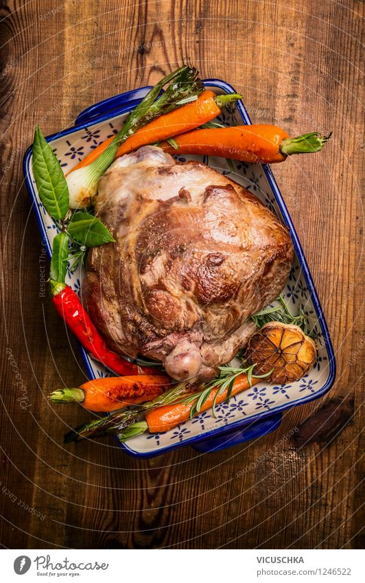 Leg of lamb roast with herbs and vegetables Food Meat Vegetable Herbs and spices Nutrition Dinner Banquet Organic produce Bowl Style Design Life