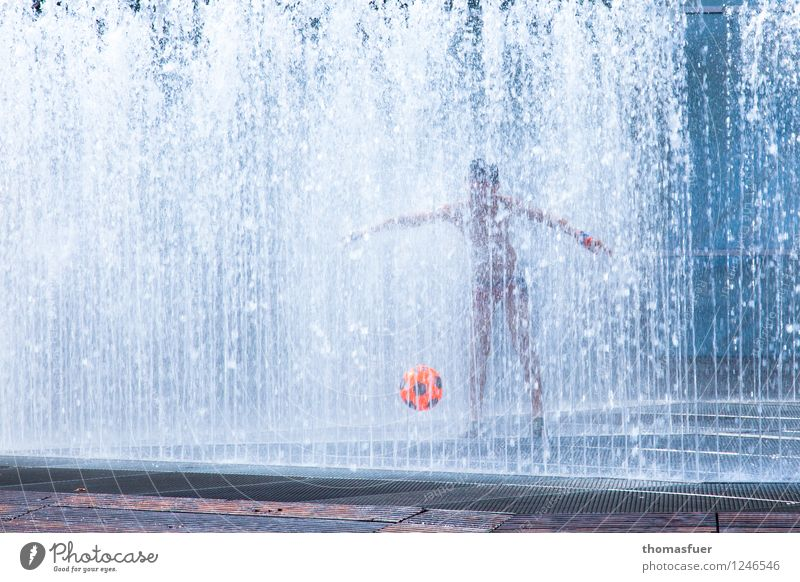 Summer in the city Leisure and hobbies Playing Human being Masculine Child Boy (child) Infancy 1 0 - 12 months Baby Sports Fluid Town Blue Orange White Joy