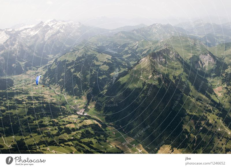 View to the Arnensee Lifestyle Well-being Contentment Relaxation Calm Leisure and hobbies Trip Freedom Summer Mountain Sports Paraglider Paragliding