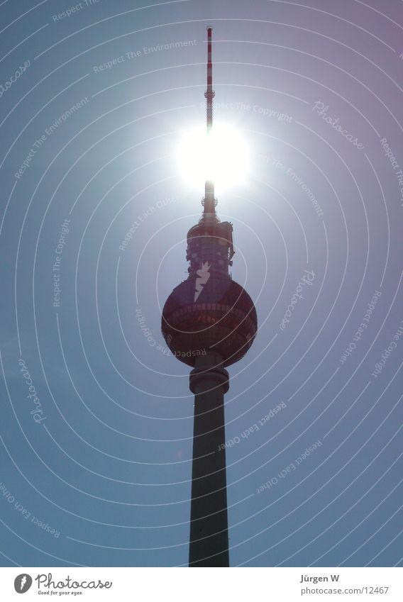 Sky Blue Sun Berlin Architecture Tall Capital city Berlin TV Tower Antenna Germany