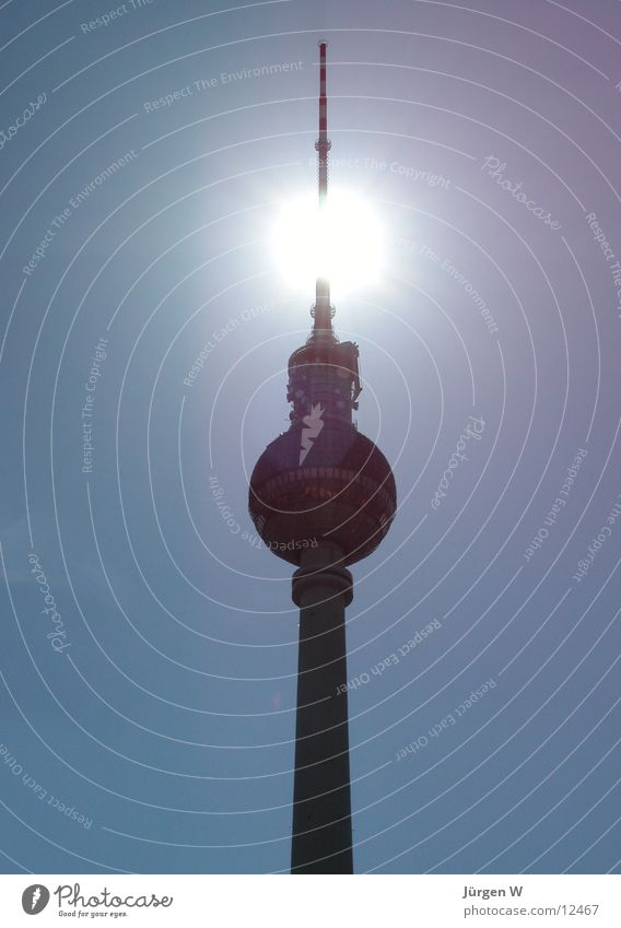 Sky Blue Sun Berlin Architecture Tall Capital city Berlin TV Tower Antenna Germany
