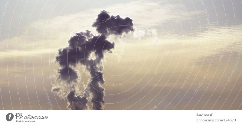 Sky Clouds Environment Air Climate Energy industry Electricity Industry Smoke Burn Chimney Exhaust gas Environmental protection Climate change Carbon dioxide