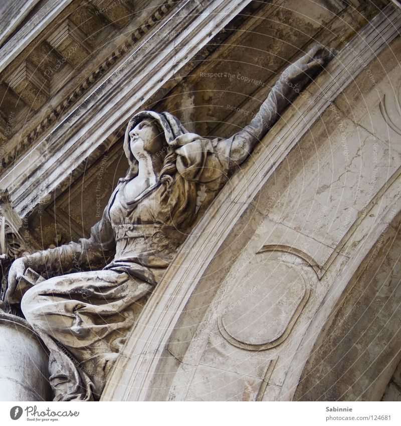 desperate deed Venice Woman Cape Hand Salute Hooded (clothing) Dress Statue Detail House of worship Stone Arm Basilica Santa Maria della Salute