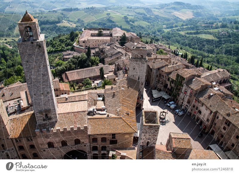 San Gimignano Vacation & Travel Tourism Trip Far-off places Sightseeing City trip Summer Summer vacation Environment Landscape Field Forest Tuscany Italy