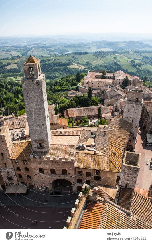 sex towers Vacation & Travel Tourism Trip Far-off places Sightseeing City trip Summer Summer vacation Sky Horizon Field Hill San Gimignano Tuscany Italy