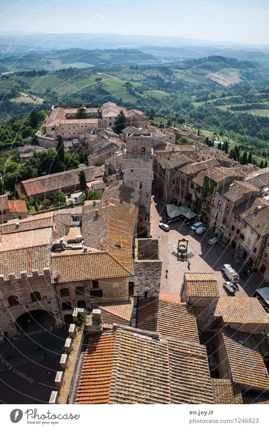 in the morning Vacation & Travel Tourism Trip Sightseeing City trip Summer Summer vacation Sky Horizon Field Hill San Gimignano Tuscany Italy Small Town