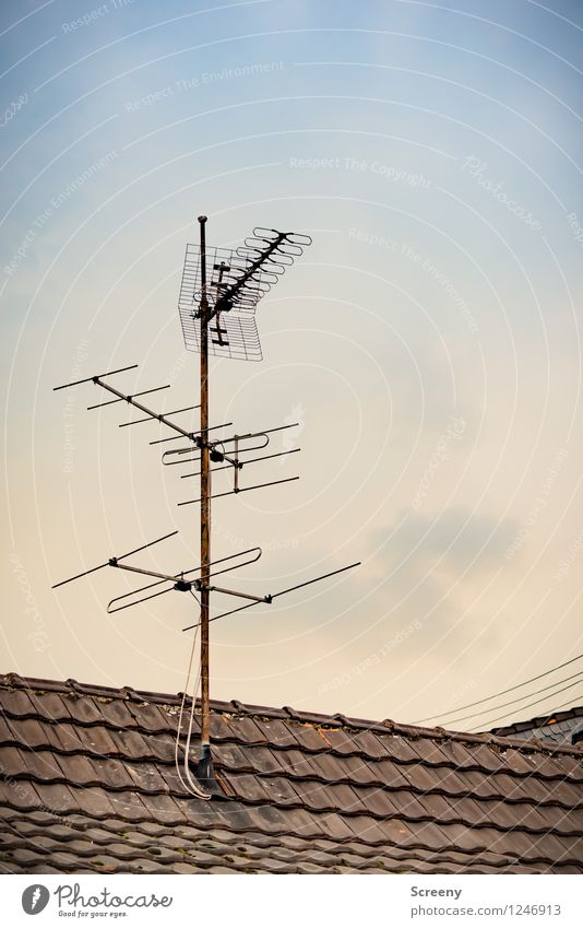 Reception... House (Residential Structure) Building Roof Antenna Old Tall Advancement Ready to receive Receive Cable TV set Radio (device) Analog Terrestrial