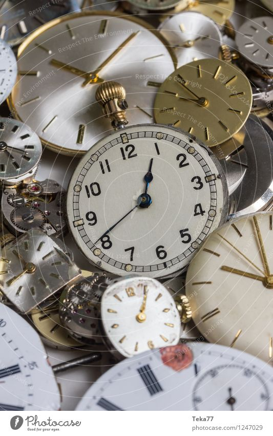 Time machines 2 Machinery Measuring instrument Clock Hand Jump Retro Future Clock face Watch mechanism Colour photo Close-up Detail Deserted