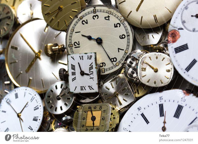 Time machines 1 Machinery Measuring instrument Clock Hand Jump Retro Esthetic Planning Eternity Clock face Watch mechanism Studio shot Close-up Detail Deserted