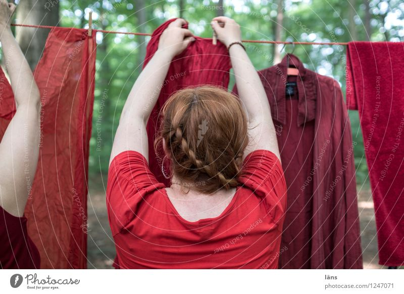 Human being Woman Forest To hold on Laundry Clothesline Hang up Holder