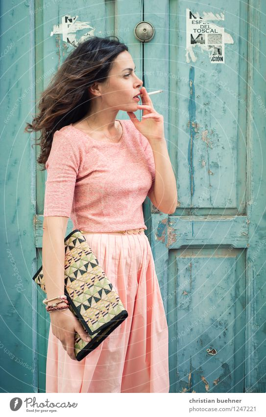 cigarette break Elegant Style Woman Adults 1 Human being 30 - 45 years Dress Brunette Long-haired Success Friendliness Fresh Positive Esthetic Design Relaxation