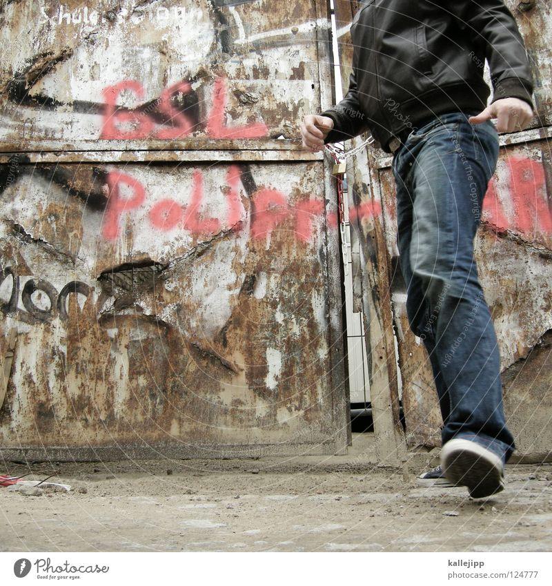 Human being Man Old Going Door Jeans Derelict Gate Steel Rust Decline Dynamics Shabby Iron Events Snapshot