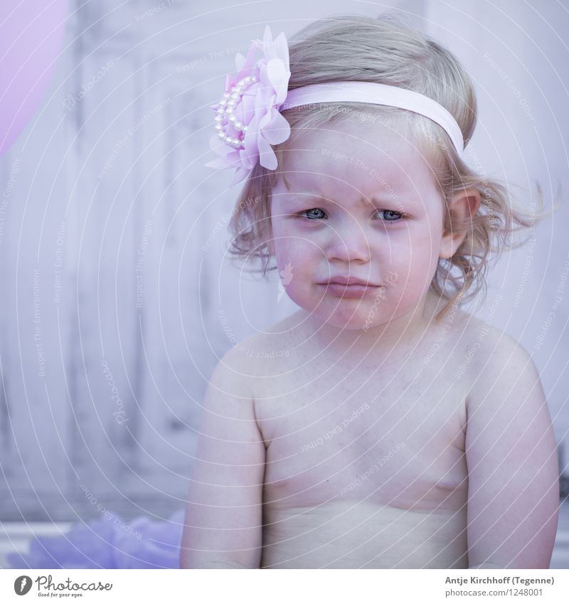 Before Smash cake Party Human being Feminine Child Toddler Girl 1 1 - 3 years Sit Dream Violet Pink Colour photo Exterior shot Day Forward