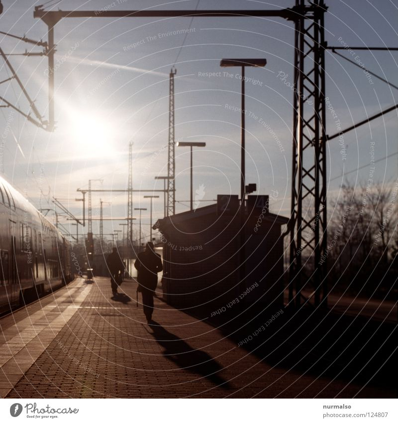 Arrival in the morning Hold Morning Going Platform Railroad Electricity Light Occur House (Residential Structure) Beautiful Long Wanderlust Work and employment