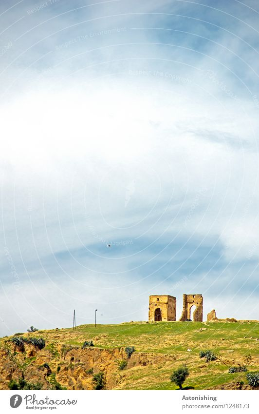 ruin Environment Nature Landscape Plant Sky Clouds Horizon Weather Beautiful weather Tree Grass Hill Rock Fez Morocco Ruin Tower Gate Manmade structures