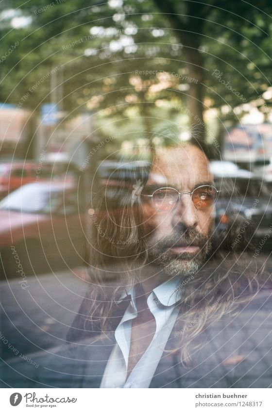 Behind Glass Masculine 1 Human being 45 - 60 years Adults Long-haired Designer stubble Looking Sit Dream Wait Elegant Success Uniqueness Reliability