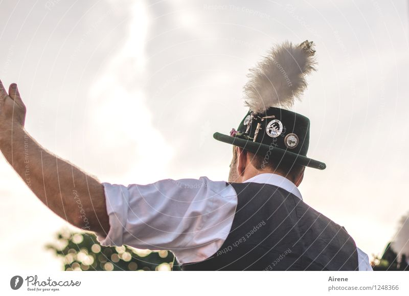 Human being Man Adults Funny Head Masculine Arm Dance Back Alps Hat Bavaria Self-confident Festive Original Costume