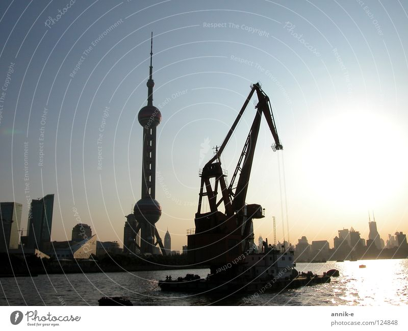 Shanghai Port China Asia Twilight Crane Harbour River Water Town