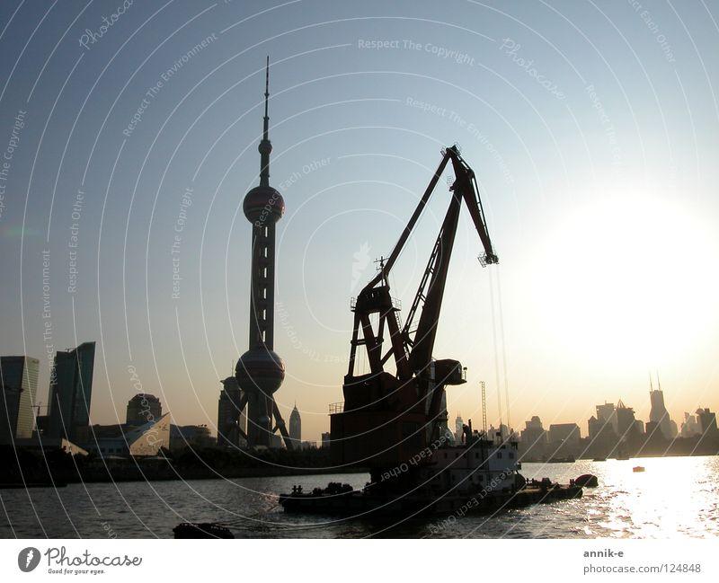 Water River Asia Harbour China Crane Shanghai
