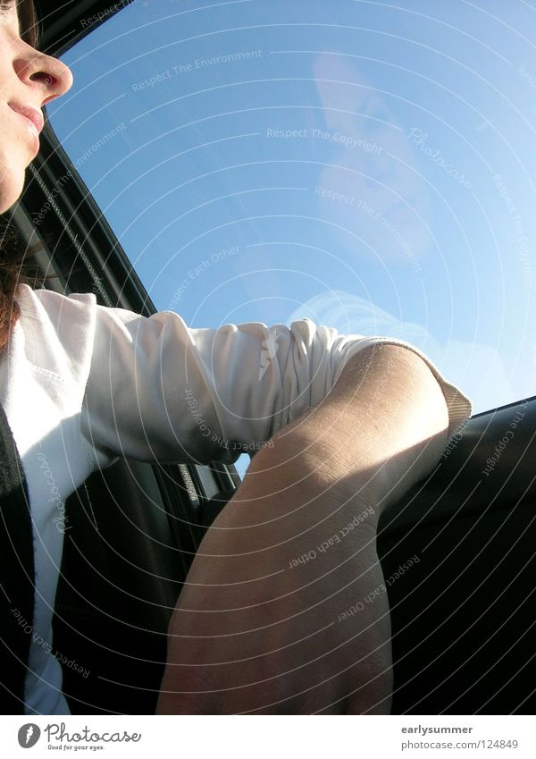 Woman Sky Youth (Young adults) Hand Blue Face Car Think Arm Wait Nose Hope Driving Car Window Desire Longing