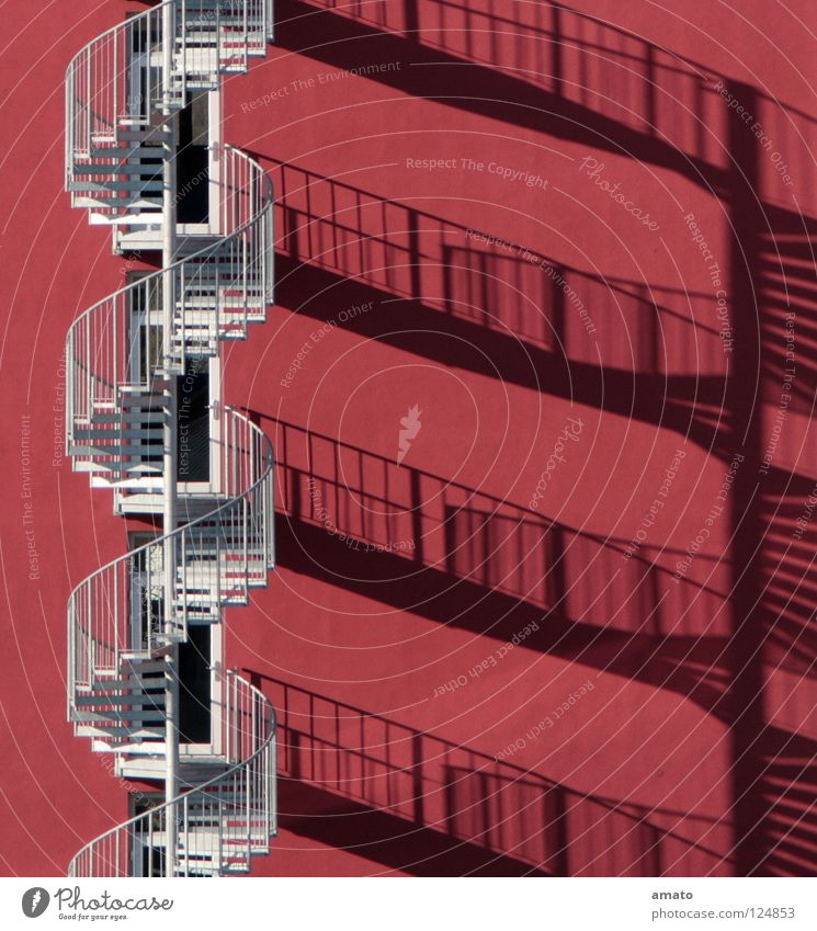 HOTEL Silhouette Winding staircase Red Wall (building) Sun's position Rescue aluminium-coloured inflationary hue