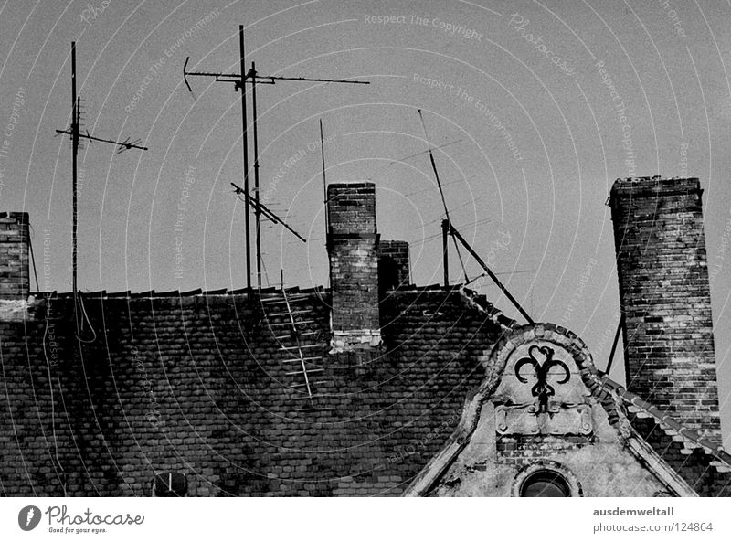 IAntennaI Roof Gable Brick Window Gray Derelict Friedrichshain East Detail Black & white photo Chimney Stone Old Above Sky