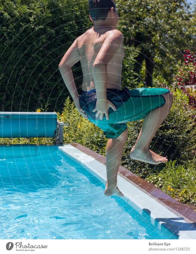 ass bomb Lifestyle Summer Summer vacation Sun Sports Swimming & Bathing Swimming pool Masculine Boy (child) Infancy Beautiful weather Garden Fitness Playing