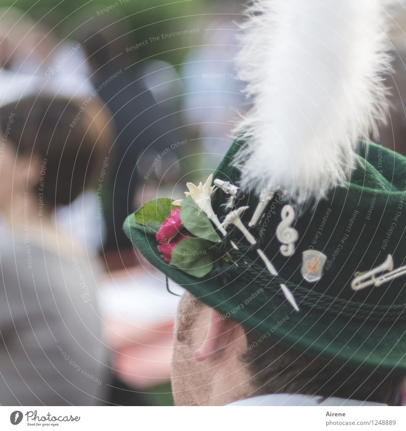 Human being Man Green White Adults Feasts & Celebrations Head Masculine Decoration Alps Kitsch Tradition Hat Fairs & Carnivals Collection Rural