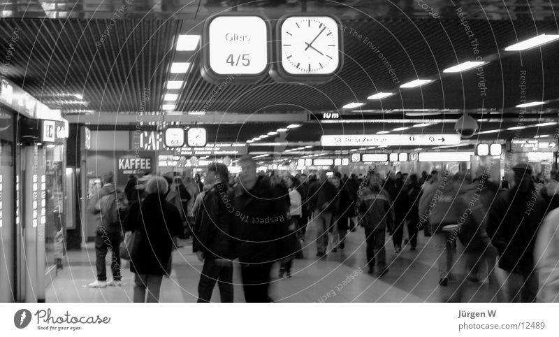 at station 3 Clock Long exposure Human being Train station Black & white photo Rush hour Duesseldorf Haste human railway station watch hurries