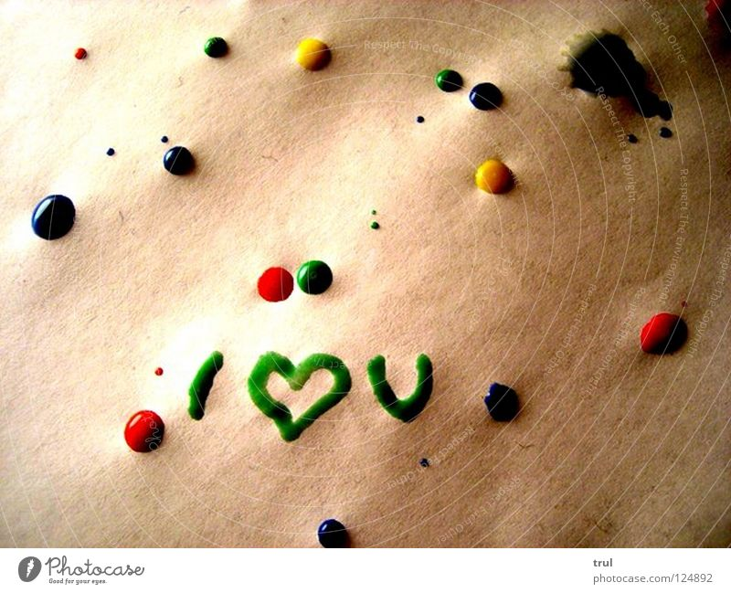 I <3 you Watercolor Paper Green Red Yellow Love splotches of paint Heart Blue