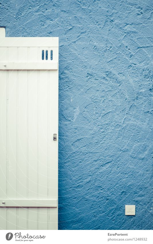 Blue Colour White House (Residential Structure) Wall (building) Architecture Building Wall (barrier) Wood Line Bright Facade Design Esthetic Stripe Illustration