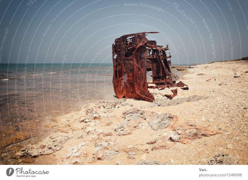 flotsam and jetsam Summer vacation Island Sky Cloudless sky Horizon Coast Beach Ocean Navigation Wreck Washed up Rust Colour photo Multicoloured Exterior shot
