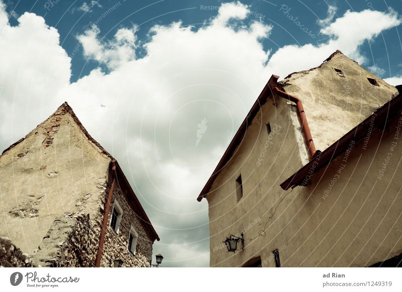 Sky Old Summer Clouds House (Residential Structure) Wall (building) Architecture Building Wall (barrier) Stone Sand Facade Transience Culture Beautiful weather
