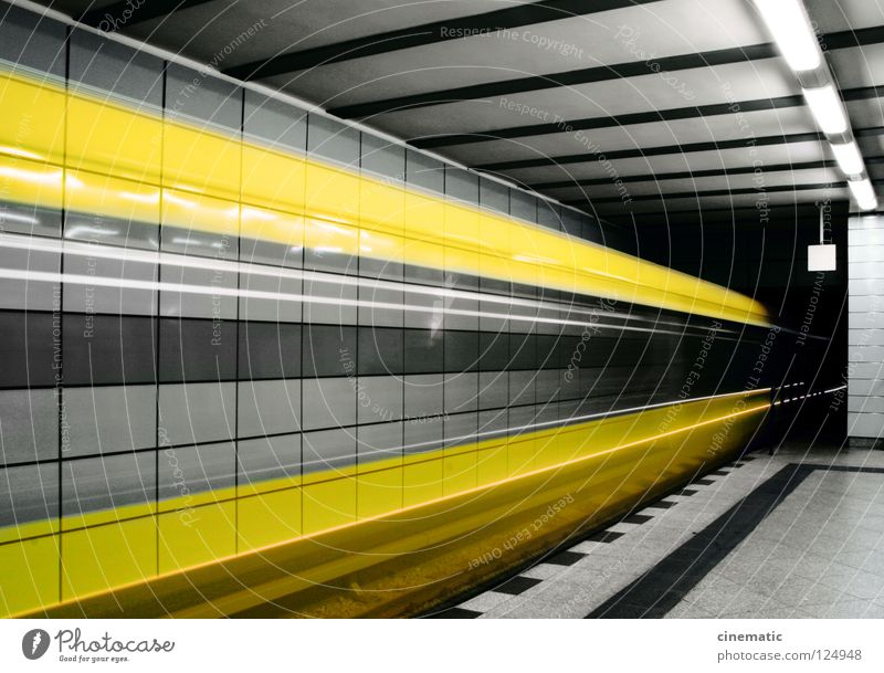 City Yellow Movement Berlin Transport Speed Railroad Logistics Driving Capital city Tunnel Underground Means of transport Arrival Subsoil Underground