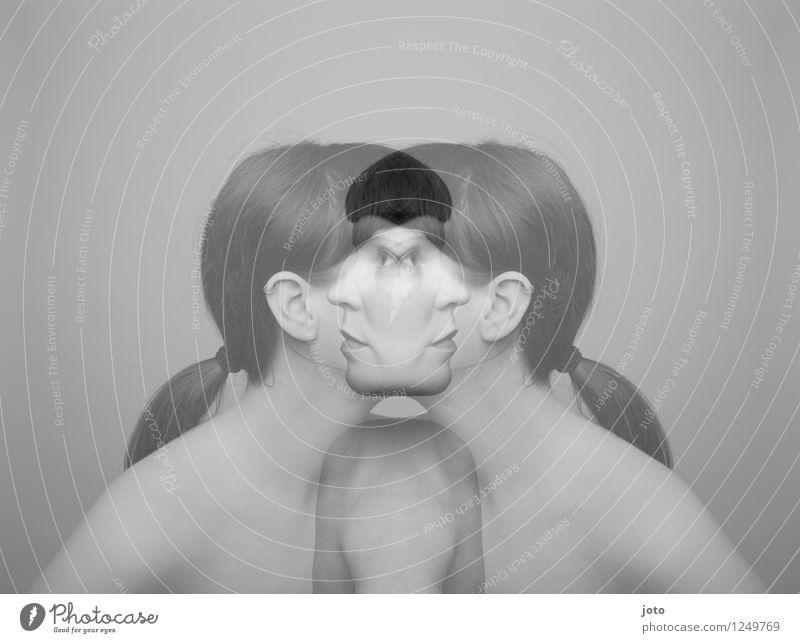 Human being Woman Adults Crazy Broken Change Hope Longing Pain Irritation Distress Muddled Surrealism Divide Identity Symmetry